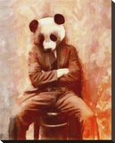 Sad Panda Stretched Canvas Print by John Keddie