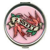 2 Sweet Pink Round Compact Compact Mirror
