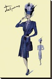 Pleated Dress with Hat and Vail, 1947 Stretched Canvas Print