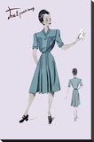 Casual Dress in Turquoise, 1947 Stretched Canvas Print