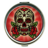 Sugar Skull Round Compact Compact Mirror