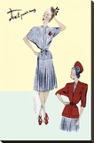 Pleated Sailor Dress with Jacket, 1947 Stretched Canvas Print