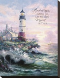 Lighthouse Cove with Verse Stretched Canvas Print by Carl Valente