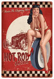 Bettie Page Hot Rod Metal Sign Wall Sign