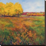 Yellow Trees Stretched Canvas Print by Jan E. Moffatt