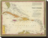 West Indies, c.1846 Stretched Canvas Print by Samuel Augustus Mitchell