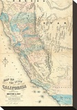 Map of the State of California, c.1853 Stretched Canvas Print by John B. Trask