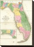 Map of Florida, c.1839 Stretched Canvas Print by David H. Burr