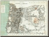 State of Oregon, c.1879 Stretched Canvas Print
