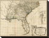General Map of the Southern British Colonies, in America, c.1776 Stretched Canvas Print by Robert Sayer