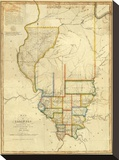 Map of Illinois, c.1820 Stretched Canvas Print by John Melish