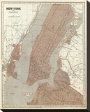 New York and Vicinity, c.1845 Stretched Canvas Print by Sidney E. Morse