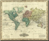 World on Mercators Projection, c.1823 Stretched Canvas Print by Henry S. Tanner