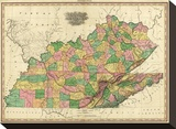 Kentucky, Tennessee and Part of Illinois, c.1823 Stretched Canvas Print by Henry S. Tanner