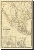 Nouvelle Carte du Mexique, Du Texas, c.1840 Stretched Canvas Print by Adrien Hubert Brue