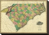 Map of North and South Carolina, c.1823 Stretched Canvas Print by Henry S. Tanner