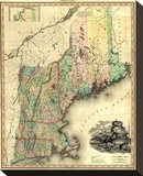 Maine, New Hampshire, Vermont, Massachusetts, Connecticut and Rhode Island, c.1823 Stretched Canvas Print by Henry S. Tanner