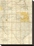 Map of The States of Kansas and Texas and Indian Territory, c.1867 Stretched Canvas Print