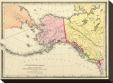 Northwestern America Showing the Territory ceded by Russia to the United States, c.1872 Stretched Canvas Print