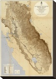 Map of The San Joaquin, Sacramento and Tulare Valleys, c.1873 Stretched Canvas Print