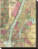 Map of New York and Adjacent Cities, c.1874 Stretched Canvas Print by Gaylord Watson