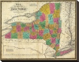 State of New York, c.1831 Stretched Canvas Print by Samuel Augustus Mitchell