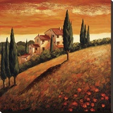 Sunset Over Tuscany I Stretched Canvas Print by Santo De Vita
