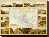 Vias de Comunicacion y Movimiento Maritimo, c.1885 Stretched Canvas Print by Antonio Garcia Cubas