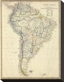 South America, c.1842 Stretched Canvas Print