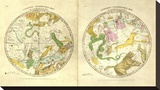 Circumpolar Map for each Month of the Year, c.1835 Stretched Canvas Print by Elijah H. Burritt