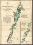Survey of Lake Champlain, including Lake George, Crown Point and St. John, c.1776 Stretched Canvas Print by Robert Sayer