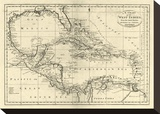 Chart of the West Indies, c.1795 Stretched Canvas Print by Mathew Carey