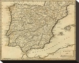Spain, Portugal, c.1812 Stretched Canvas Print by Aaron Arrowsmith