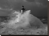 Le phare d&#39;Ar-Men, lors d&#39;un coup de vent Stretched Canvas Print by Jean Guichard