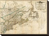 General Map of the Northern British Colonies in America, c.1776 Stretched Canvas Print by Robert Sayer