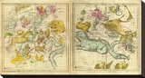 The Constellations in October - March, c.1835 Stretched Canvas Print by Elijah H. Burritt