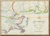 Map of New Orleans and Adjacent Country, c.1815 Stretched Canvas Print by John Melish