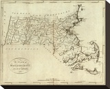 State of Massachusetts, c.1796 Stretched Canvas Print by John Reid