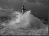Le phare d'Ar-Men, lors d'un coup de vent Stretched Canvas Print by Jean Guichard