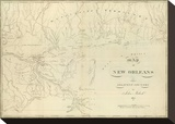 Map of New Orleans and Adjacent Country, c.1824 Stretched Canvas Print by John Melish