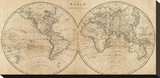 The World, c.1825 Stretched Canvas Print by Mathew Carey