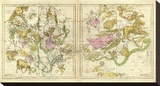 The Constellations in April - September, c.1835 Stretched Canvas Print by Elijah H. Burritt