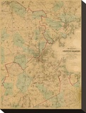 Map of Boston, c.1860 Stretched Canvas Print by H. F. Walling