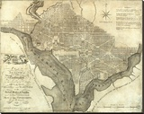 Plan of the City of Washington, c.1795 Stretched Canvas Print by John Reid