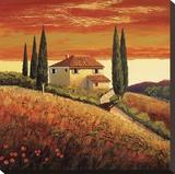 Sunset Over Tuscany II Reproduction sur toile tendue par Santo De Vita