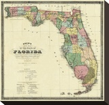 New Map of the State of Florida, c.1870 Stretched Canvas Print by Columbus Drew