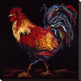 Red and Gold Rooster Stretched Canvas Print by Suzanne Etienne