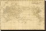 World Mercator's Projection, c.1812 Stretched Canvas Print by Aaron Arrowsmith