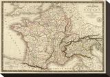 Carte Generale des Gaules, c.1821 Stretched Canvas Print by Adrien Hubert Brue