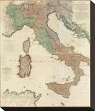 Composite: Italy, c.1800 Stretched Canvas Print by Louis Stanislas D'arcy De La Rochette